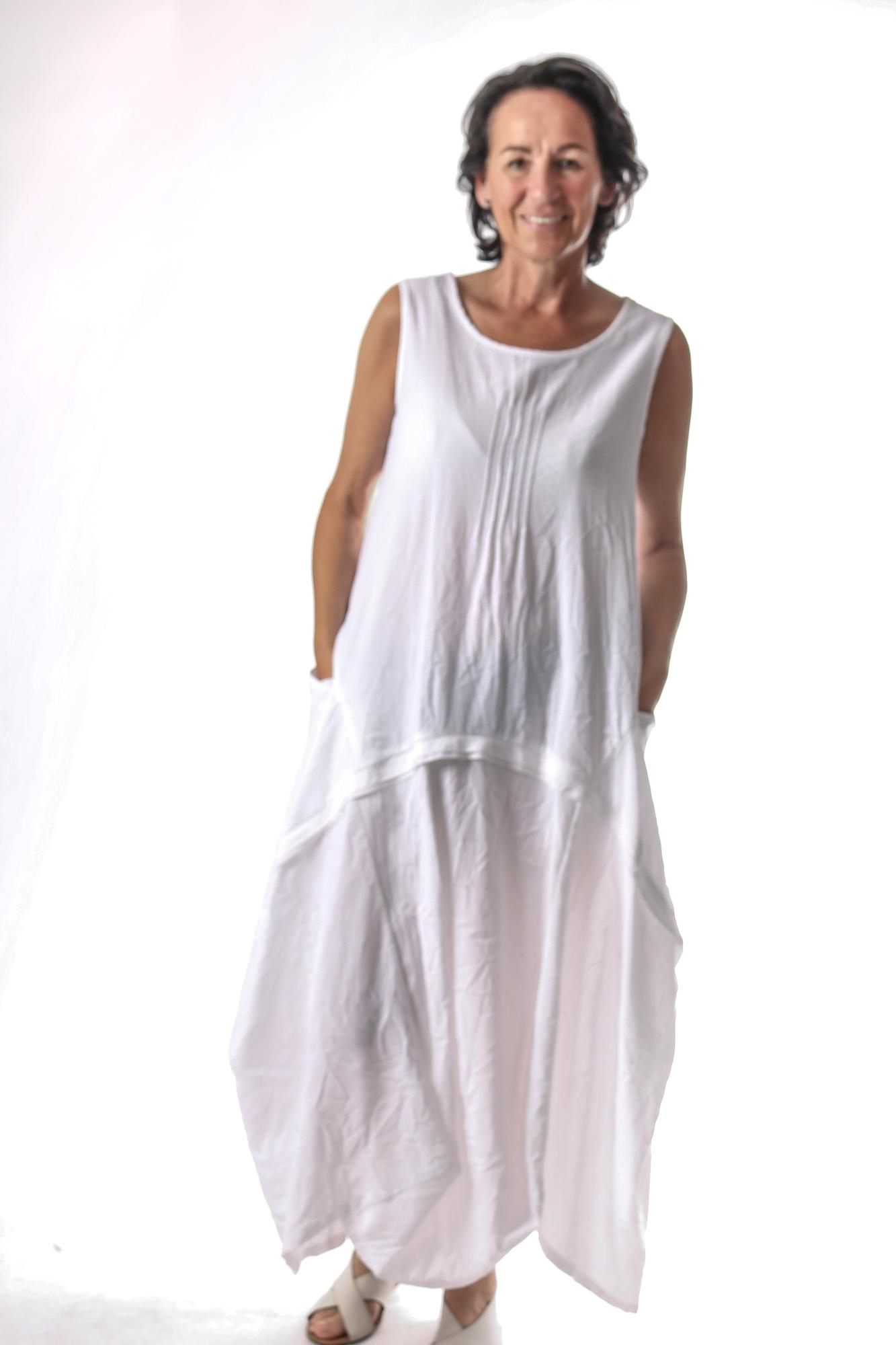 Kleid ohne Arm Gr. 44-46 weiß Crash ballonform   kleider ...